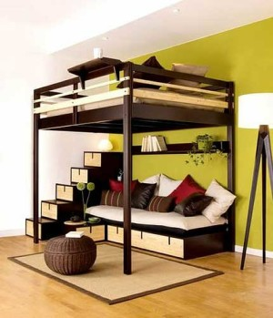 Contemporary Bedroom Design Small Space Loft Bed Couple